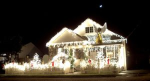 Home decorated in Christmas lights