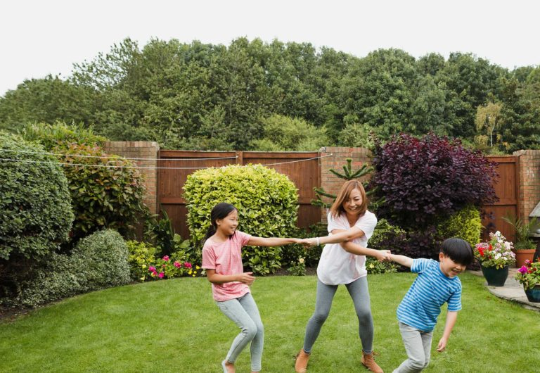Family playing on yard